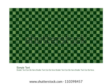 abstract vector backdrop design with symmetrical squares and lines in green and place for your text isolated on white background