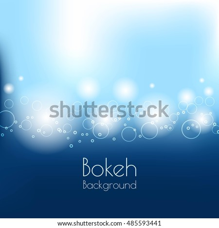 Abstract vector background and blurred lights shining bokeh effect on blue background. Bokeh Background Vector Illustration.