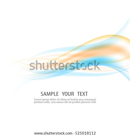Stock Photo Abstract vector background, blue and green transparent waved lines for brochure, website, flyer design. Blue green smoke wave. Transparent wave