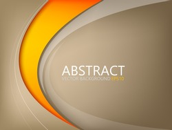 Abstract vector background brown element with orange curve line on brown space for text and message design