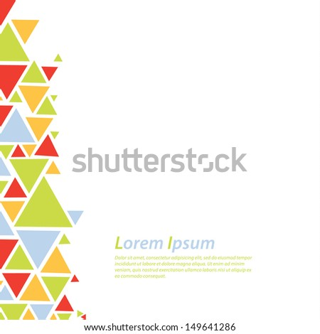 Abstract vector background. Colorfully triangle flow - twister. Modern and solid colors. Abstract template with space for your content. Element for brochure, presentation, cover or poster.