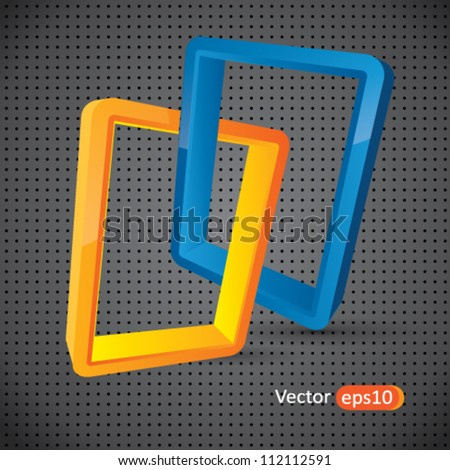 Abstract vector background composition with glossy logo style connected rectangular elements