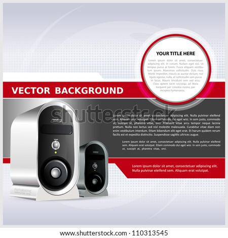 Abstract vector background for brochure or poster with a computer - stock vector