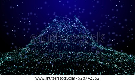 Stock Photo Abstract vector background. Futuristic style card. Cyber mountain