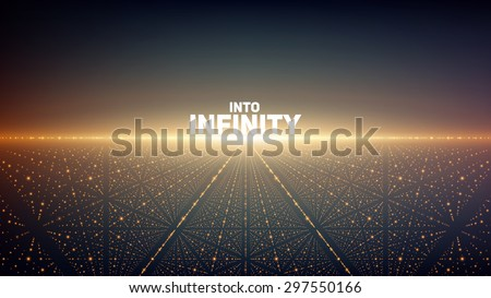 Abstract vector background. Glowing stars with illusion of depth and perspective. Abstract futuristic space background