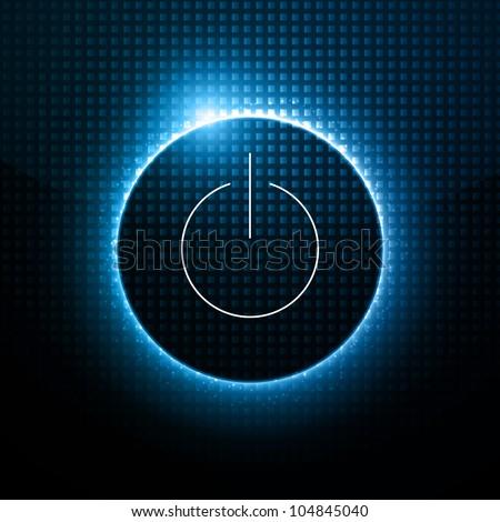 Abstract Vector Background - Power Button behind Dark Design