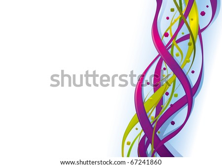 Abstract Vector Background Retro Twirled Ribbons in motion with flying Cubes.