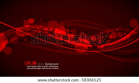 Abstract Vector Background - Shiny Red Waves