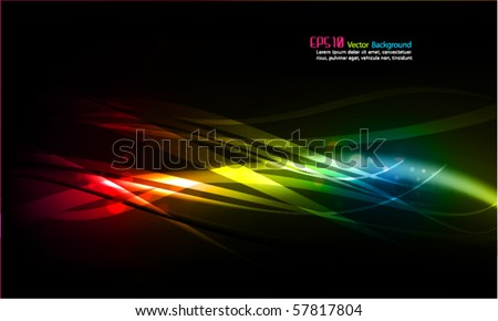 Abstract Vector Background - Transparent Lights and Wavy Foliage Decorations - stock vector