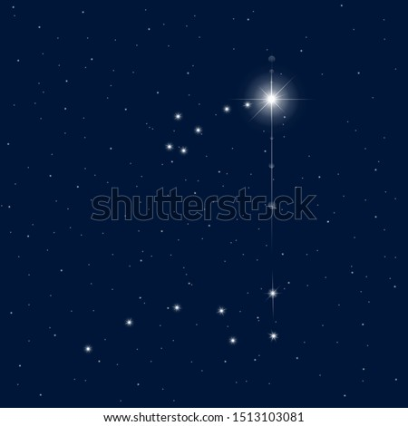 Abstract vector background Ursa Minor and Ursa Major constellations. Polaris in the Ursa Minor is the North Pole of the world. Two brightest stars of Great Bear used as pointer to northern pole star