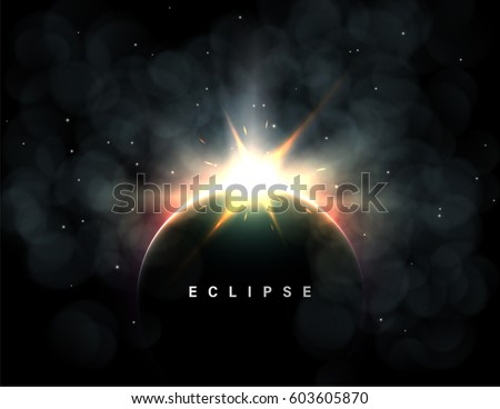 Stock Photo Abstract vector background with a solar eclipse or planetary collision. Large flash or explosion with dust and red glow.