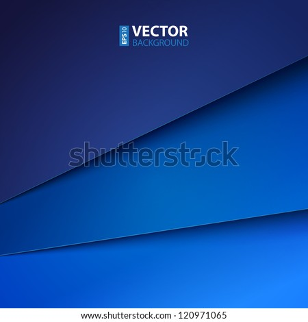 Abstract vector background with blue paper layers