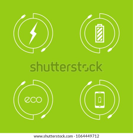 Abstract Vector background with charge mobile phones. usb cable is connected to the smartphone. The concept  power charging.  Renewable green energy Eco