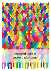 abstract vector background with crowd of people in silhouettes, colorful cartoon design with place for your text