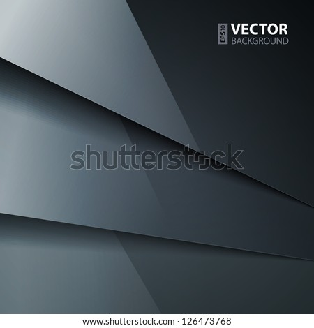 Abstract vector background with dark gray metal layers. RGB EPS 10 vector illustration