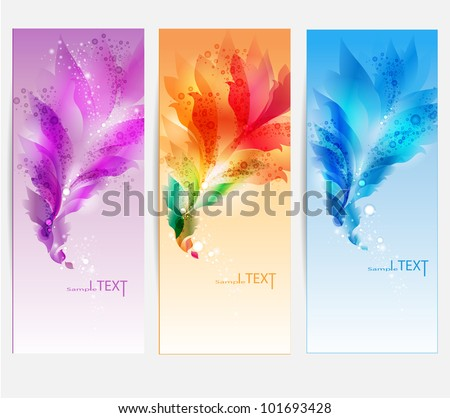 Abstract vector background with floral elements . Set of four banners