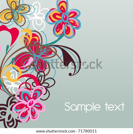 Abstract vector background with flowers and grunge spot