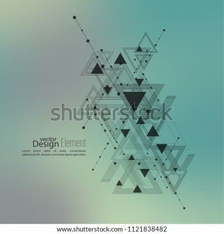 Abstract vector background with geometric shapes intersecting. Diagonal lines with dots and translucent triangles. Techno design. Technology and  Future. Color gradient. Colorful defocus