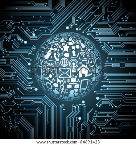abstract vector background with high tech circuit board.communication in the global computer networks