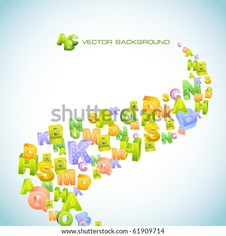Abstract vector background with letter mix. Vector illustration.