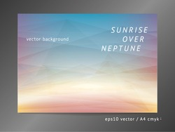 Abstract vector background with light beam, sunrise, polygonal color surfaces, and electric arc effect on soft deep space mesh field.