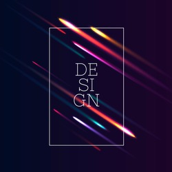 abstract vector background with lights lines and text design in frame, dark backdrop with glowing comets