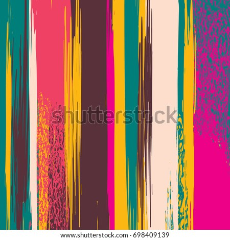 Abstract vector background with stripes. Painted in hand stains and brush strokes. Colorful modern art stripes for decoration of flyers, booklets, covers