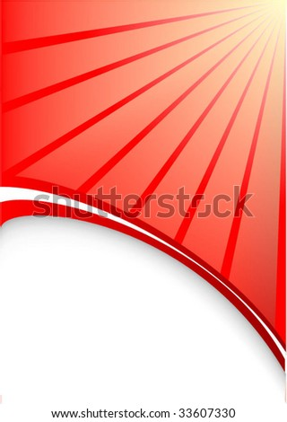 Abstract vector background with sun. red white