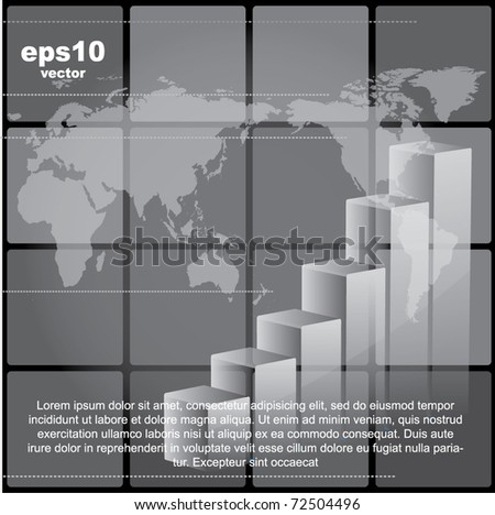 Abstract vector background with the world map and a chart - financial design