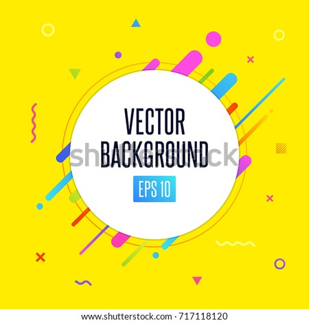 Abstract vector background with white circle for text message and abstract colorful elements. Modern neon lines and design elements for your art. Vector EPS 10 background