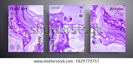 Abstract vector banner, texture pack of fluid art covers. Beautiful background that can be used for design cover, invitation, presentation and etc. Purple and white unusual creative surface template.