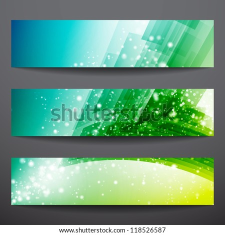 Abstract vector banners. Business banner. Banner background. Web banner. Technology background. Business card. Technology abstract. Bright background. Green background. Blue background