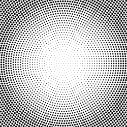 Abstract vector black and white dotted halftone background. Dot radial pattern