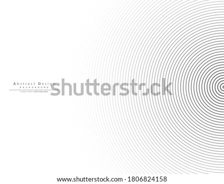 Abstract vector black halftone concentric circle background. Gradient retro line pattern design. Monochrome graphic. Circle for sound wave. vector illustration