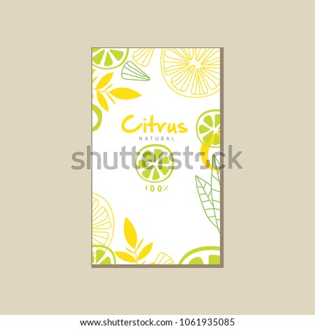 Abstract vector card with slices of juicy lime and lemon. Healthy nutrition. Organic food. Tropical fruit. Eco product. Design for juice packaging or promo poster