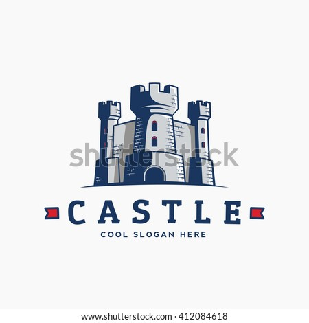 abstract vector castle label