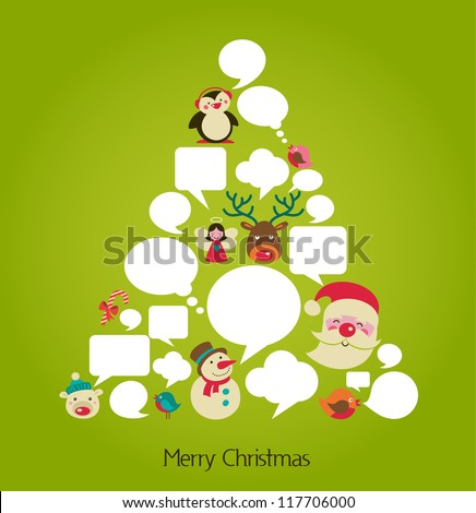 abstract vector Christmas tree with speech bubbles - stock vector