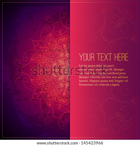 Abstract vector circle floral ornament. Lace pattern design. Vintage ornament on red background. Vector ornamental border frame can be used for banner, wedding invitation, book cover, certificate etc.