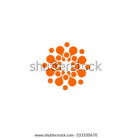 Abstract vector circle logotype. Orange unusual isolated chem logo. Virus icon. Orange sun. Flower.