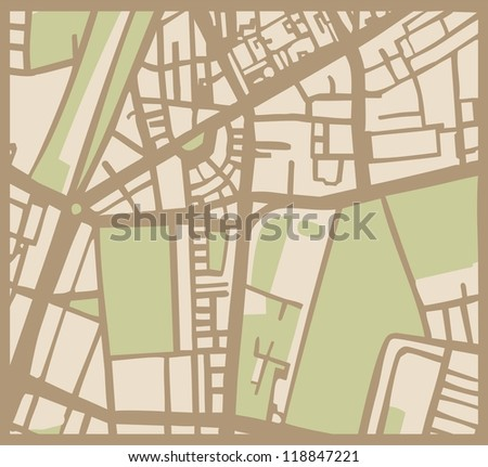 Abstract vector city map with brown streets, beige buildings and green park. Simply hand made draft town plan vintage illustration.