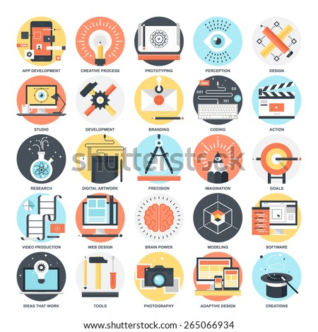 Abstract vector collection of colorful flat creative process and design and development icons. Elements for mobile and web applications.