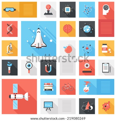 Abstract vector collection of colorful flat science and technology icons with long shadow. Design elements for mobile and web applications.