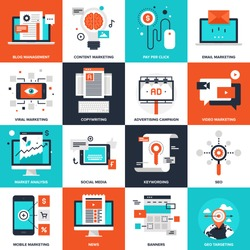 Abstract vector collection of flat digital marketing icons. Elements for mobile and web applications.