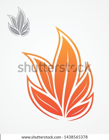 Abstract vector collection of leaves that form a fire on the white background. Best idea vector flame. Vector illustration EPS.8 EPS.10