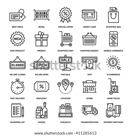 Abstract vector collection of line shopping and retail icons. Elements for mobile and web applications.