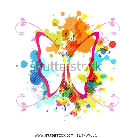 abstract vector color art butterfly design