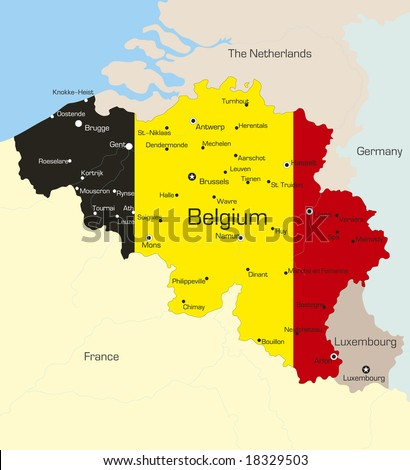 Abstract vector color map of Belgium country coloured by national flag