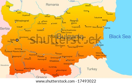 Abstract vector color map of Bulgaria country