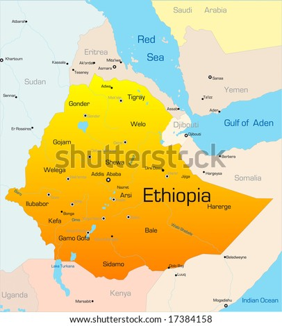 Abstract vector color map of Ethiopia country