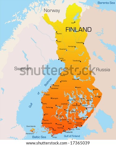 Abstract vector color map of Finland country
